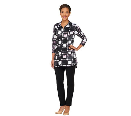 Women with Control Regular Printed Tunic & Ankle Pants Set