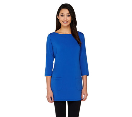 Joan Rivers 3/4 Sleeve Long Tee Shirt with Patch Pockets