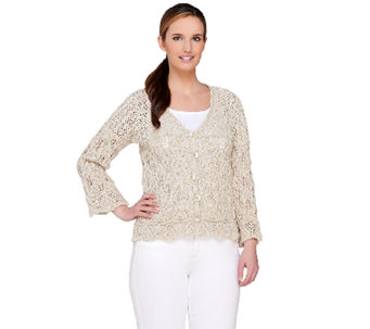 Aran Craft Cotton & Linen 3/4 Sleeve Open Knit Shrug - A263772