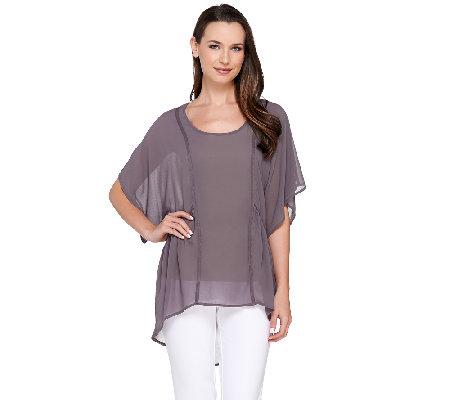 Lisa Rinna Collection Scoop Neck Hi-Low Hem Top with Tank