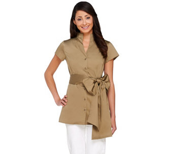 G.I.L.I. Funnel Neck Button Front Shirt with Self Belt - A264872