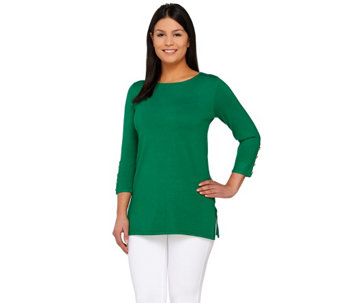 Linea by Louis Dell'Olio Whisper Knit 3/4 Sleeve Sweater - A265572