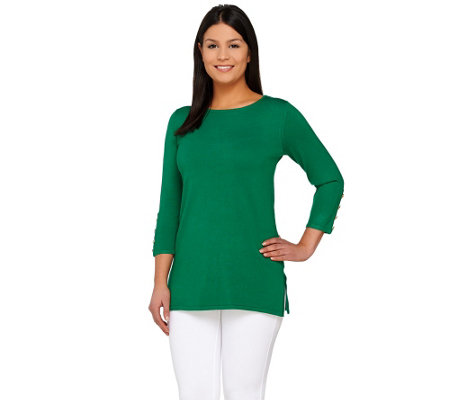 Linea by Louis Dell'Olio Whisper Knit 3/4 Sleeve Sweater