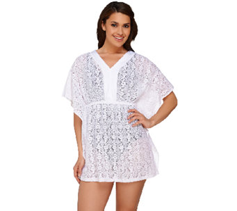 Denim & Co. Beach Mesh Lace Butterfly Sleeve Tunic Cover-Up - A265672