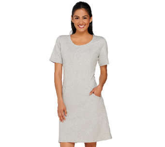 Denim & Co. Active French Terry Scoop Neck Short Sleeve Dress - A265872