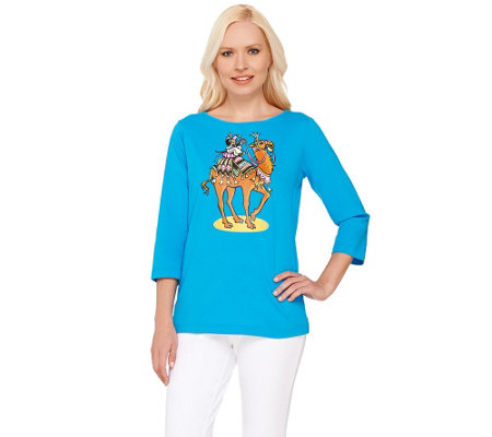 Bob Mackie's 3/4 Sleeve Camel Printed T-shirt with Embellishment