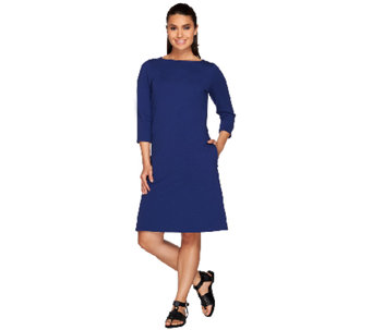 Denim & Co. Jersey Boat Neck 3/4 Sleeve Dress with Pockets - A267972