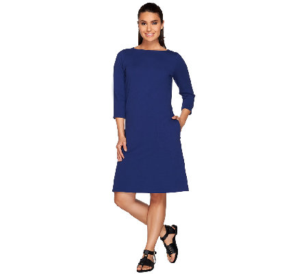 Denim & Co. Jersey Boat Neck 3/4 Sleeve Dress with Pockets