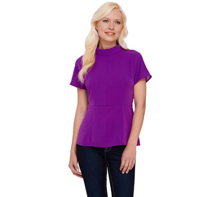 G.I.L.I. Short Sleeve Roll Collar Blouse with Seam Detail