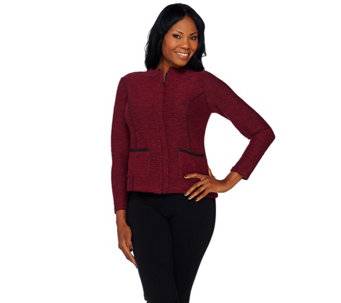 Joan Rivers Popcorn Knit Zip Front Jacket w/ Faux Leather Detail - A268572