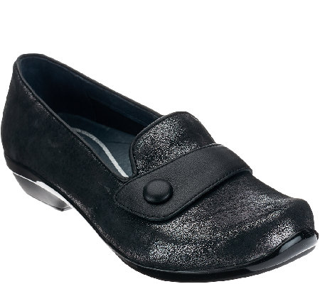 Dansko_Leather Slip-ons with Strap & Button Detail - Olena