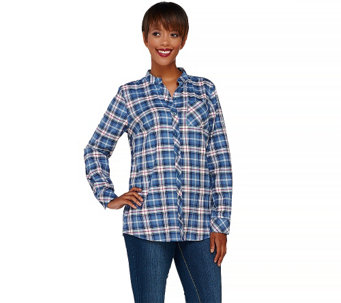 Denim & Co. Stretch Weave Plaid Mandarin Collar Button Front Shirt - A269372