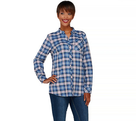 Denim & Co. Stretch Weave Plaid Mandarin Collar Button Front Shirt