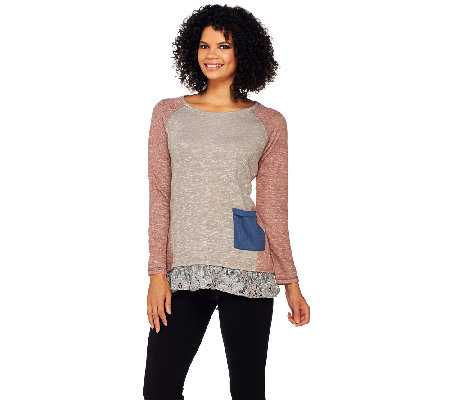 LOGO by Lori Goldstein Slub Terry Color-Block Top with Lace Trim