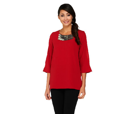 """As Is"" Susan Graver Stretch Crepe 3/4 Split Sleeve Top with Embellishment"