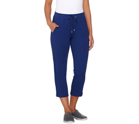"""As Is"" Denim & Co. Active French Terry Crop Pant w/ Mesh Detail"