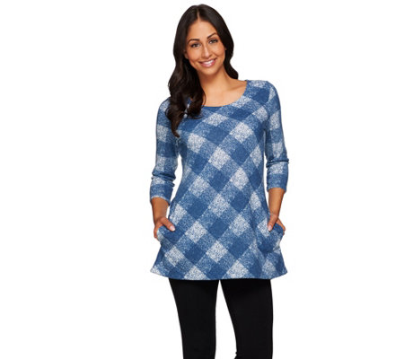 Attitudes by Renee Plaid Printed Knit Tunic with Pockets