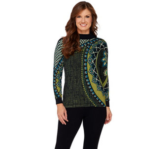 Bob Mackie's Mock Neck Long Sleeve Printed Sweater - A271372