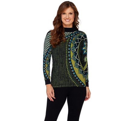 Bob Mackie's Mock Neck Long Sleeve Printed Sweater