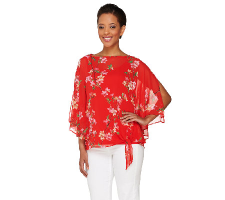 """As Is"" Susan Graver Printed Sheer Chiffon Split Sleeve Top w/Tank"