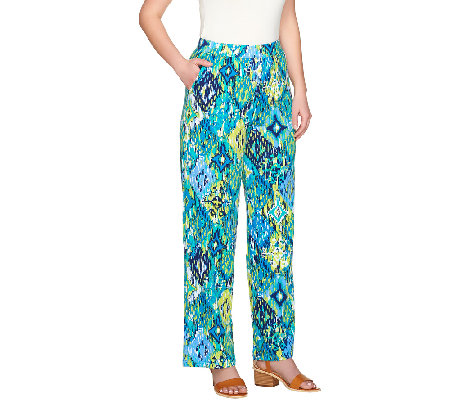 """As Is"" Denim & Co. Beach Ikat Printed Jersey Pants"