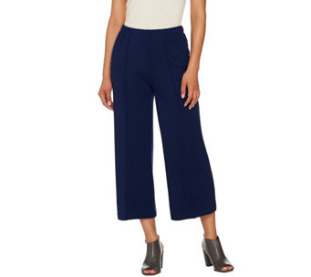 H by Halston Ponte Knit Wide Leg Pull-On Crop Pants - A272372
