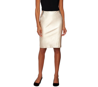 G.I.L.I. Petite Faux Leather Pencil Skirt with Zipper - A273272