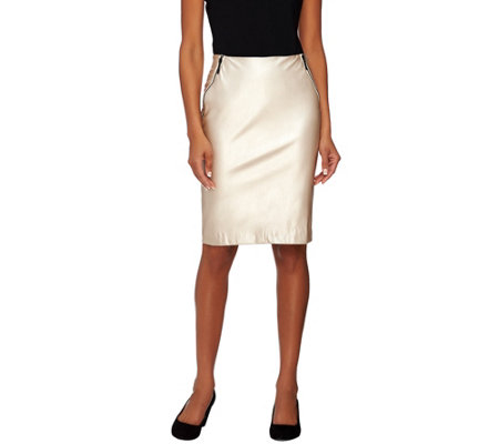 G.I.L.I. Petite Faux Leather Pencil Skirt with Zipper