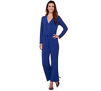 H by Halston Regular Jet Set Jersey Wide Leg Jumpsuit - A273972