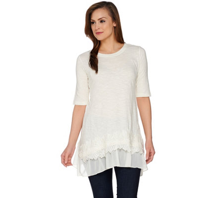 LOGO by Lori Goldstein Top with Side Godets & Embroidered Hem