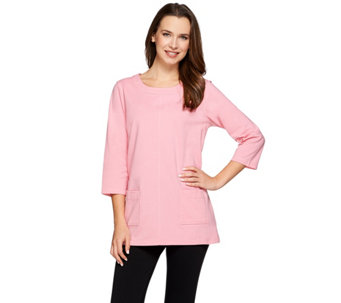 Denim & Co. Active Jersey Scoop Neck 3/4 Sleeve Tunic - A274372