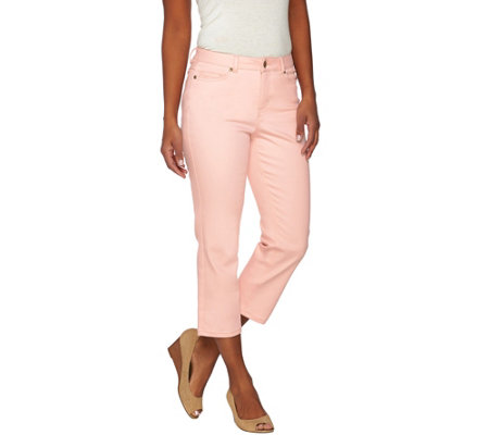Isaac Mizrahi Live! TRUE DENIM Petite Cropped Colored Jeans