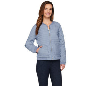 Lisa Rinna Collection Quilted Zip Front Bomber Jacket - A274672