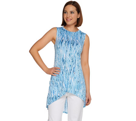 LOGO Layers by Lori Goldstein Printed Knit Tank with Hi-Low Hem