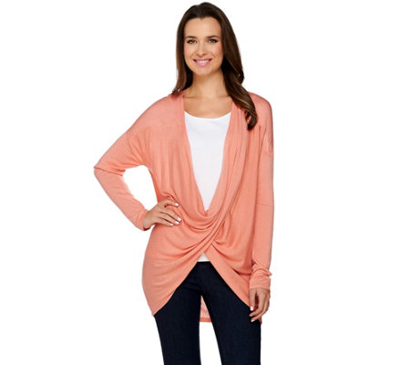 H by Halston Long Sleeve Crossover Cardigan