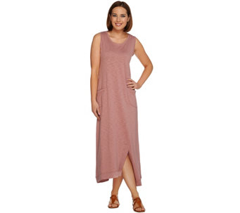 LOGO Lounge by Lori Goldstein Cotton Slub Knit Maxi Dress with Pockets - A278372