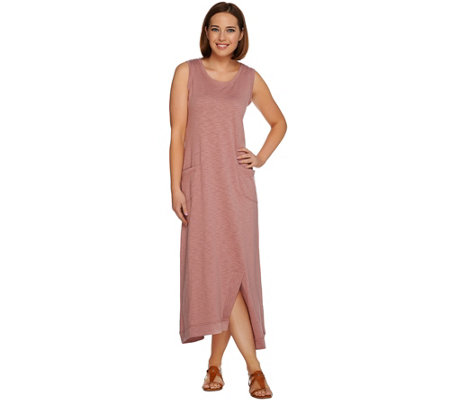 LOGO Lounge by Lori Goldstein Cotton Slub Knit Maxi Dress with Pockets