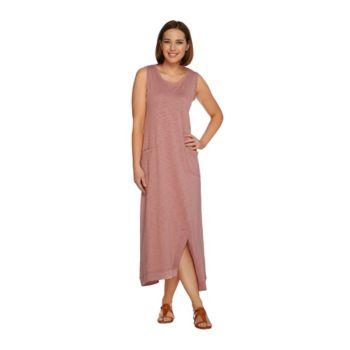 LOGO Lounge by Lori Goldstein Cotton Slub Knit Maxi Dress with Pockets