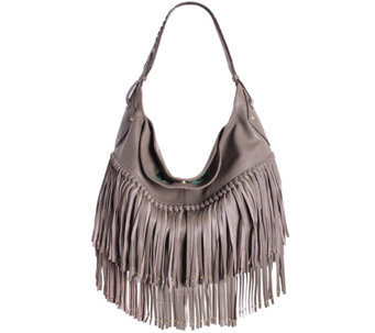 """As Is"" orYANY Soft Nappa Leather Fringe Hobo - Stevie - A278972"