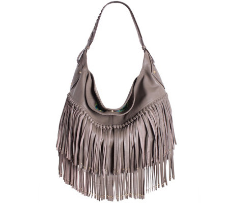 """As Is"" orYANY Soft Nappa Leather Fringe Hobo - Stevie"