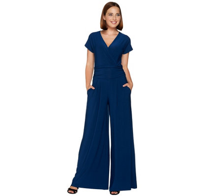 Attitudes by Renee Tall Wide Leg Jersey Knit Jumpsuit