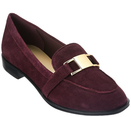 """As Is"" Isaac Mizrahi Live! Suede Loafers with Hardware Detail"
