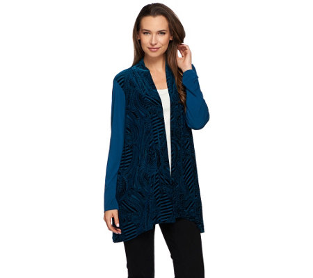"""As Is"" Susan Graver Liquid Knit Cardigan with Burnout Velvet Panels"