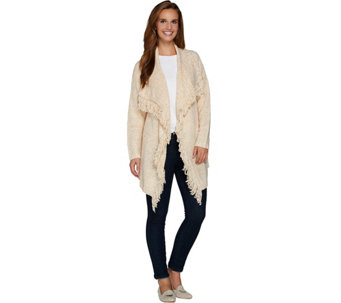 C. Wonder Cascade Front Long Sleeve Cardigan with Fringe - A280672