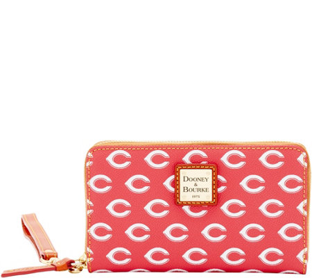 Dooney & Bourke MLB Reds Zip Around Phone Wristlet