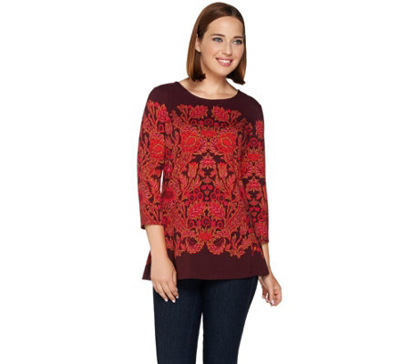 Isaac Mizrahi Live! Engineered Tapestry Print Peplum Knit Top