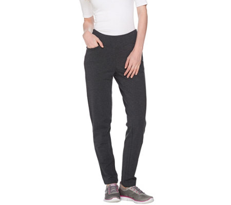 Denim & Co. Active Slim Straight Leg French Terry Pull-On Pants