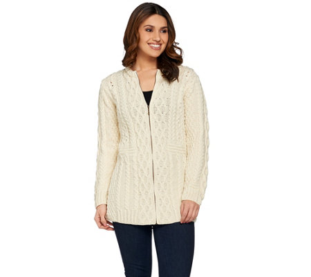 """As Is"" Kilronan Regular Merino Wool Zip Front Long Cardigan"