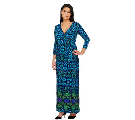 """As Is"" Attitudes By Renee Regular Jersey Knit Wrap Maxi Dress"