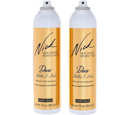 Nick Chavez Diva Stilettos& Heels Ultimate Hold Hairspray 10 oz Duo